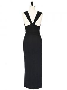 Robe de soirée drapée en jersey stretch noir Prix boutique 1500€ Taille 38