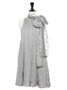 Green-grey silk chiffon dress embroidered with gold polka dots NEW Retail price €1450 Size S