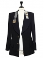 Black wool-blend blazer jacket embellished with metallic belt collar and jewel-like buttons Size L