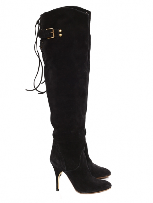 Black suede leather over-the-knee heeled boots Retail price €1200 Size 36