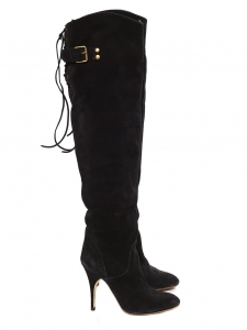 Black suede leather over-the-knee heeled boots Retail price €1200 Size 37.5