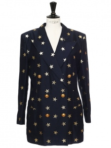 Navy blue double-breasted blazer jacket embroidered with gold stars Size 40