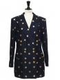 Veste blazer bleu nuit boutons dorés brodé d'étoiles en lamé or Taille 40