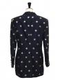 Veste blazer à double boutonnage bleu marine brodée d'étoiles dorées Taille 40