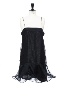 Black silk organza ruffled dress NEW Retail price €1200 Size 38