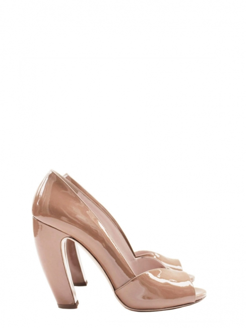 40c40f8536b Louise Paris - MIU MIU Nude beige patent leather peep toe pumps ...