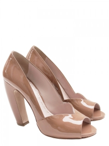 Nude beige patent leather peep toe pumps Retail price €500 Size 39