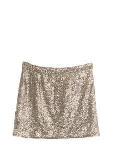 Gold beige embroidered sequin mini skirt Size 38