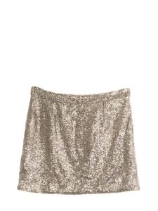 Mini-jupe brodée de sequins beige doré Taille 38