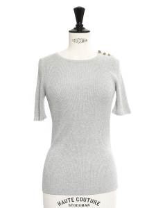 BIHAM Grey metallic ribbed-knit top NEW Retail price €305 Size XS