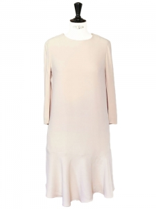 Light pink crepe ruffled hem dress Retail price €1133 Size 38
