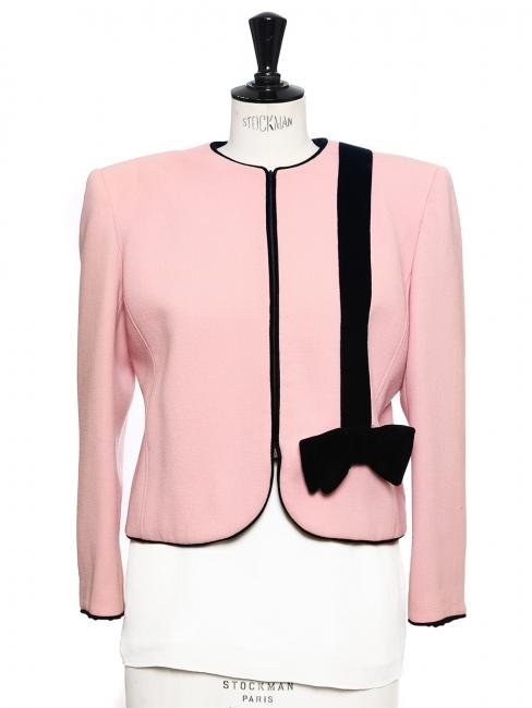 Pink crepe short jacket embellished with black velvet bow Size 38