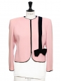Pink crepe short jacket embellished with black velvet bow Size 38