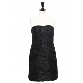 Black pleated silk strapless dress Retail price €1500 Size 38