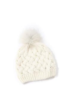 Bonnet en grosse maille de laine blanc écru et pompon Prix boutique 250€ Taille S