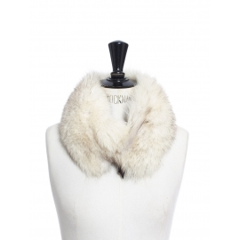 White and light grey fur scarf