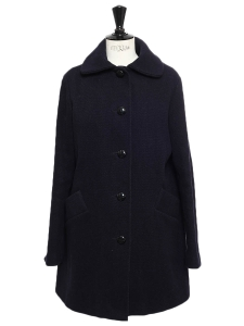 Navy blue wool-blend HELSINKI coat Retail price €230 Size S
