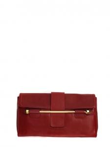Pochette de soirée clutch BOMBETTE en cuir rouge rubis Px boutique 500€