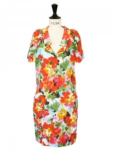 Multicolored floral printed silk dress Retail price €1800 Size S/M