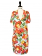 Multicolored floral printed silk dress Retail price €1800 Size S
