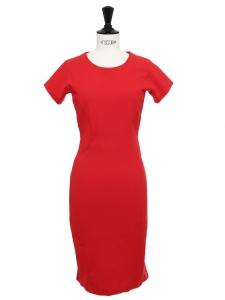 Scarlet red stretch jersey sheath dress Retail price €700 Size 36