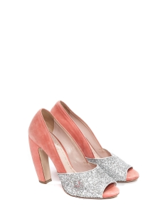 Silver glitter and pink suede leather peep toe pumps Retail price €500 Size 39