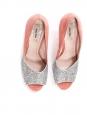 Escarpins peep toe en suède rose et glitters argent talon banane Prix boutique 500€ Taille 39