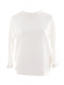 Ivory white wool crepe COSMO blouse Retail price €395 Size XS