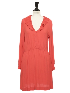 Pastel red crepe long sleeved dress NEW Size 36