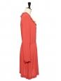 Robe manches longues en crêpe rouge pastel NEUVE Taille S