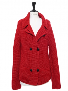 Red heavy knitted wool cardigan Retail price €330 Size M