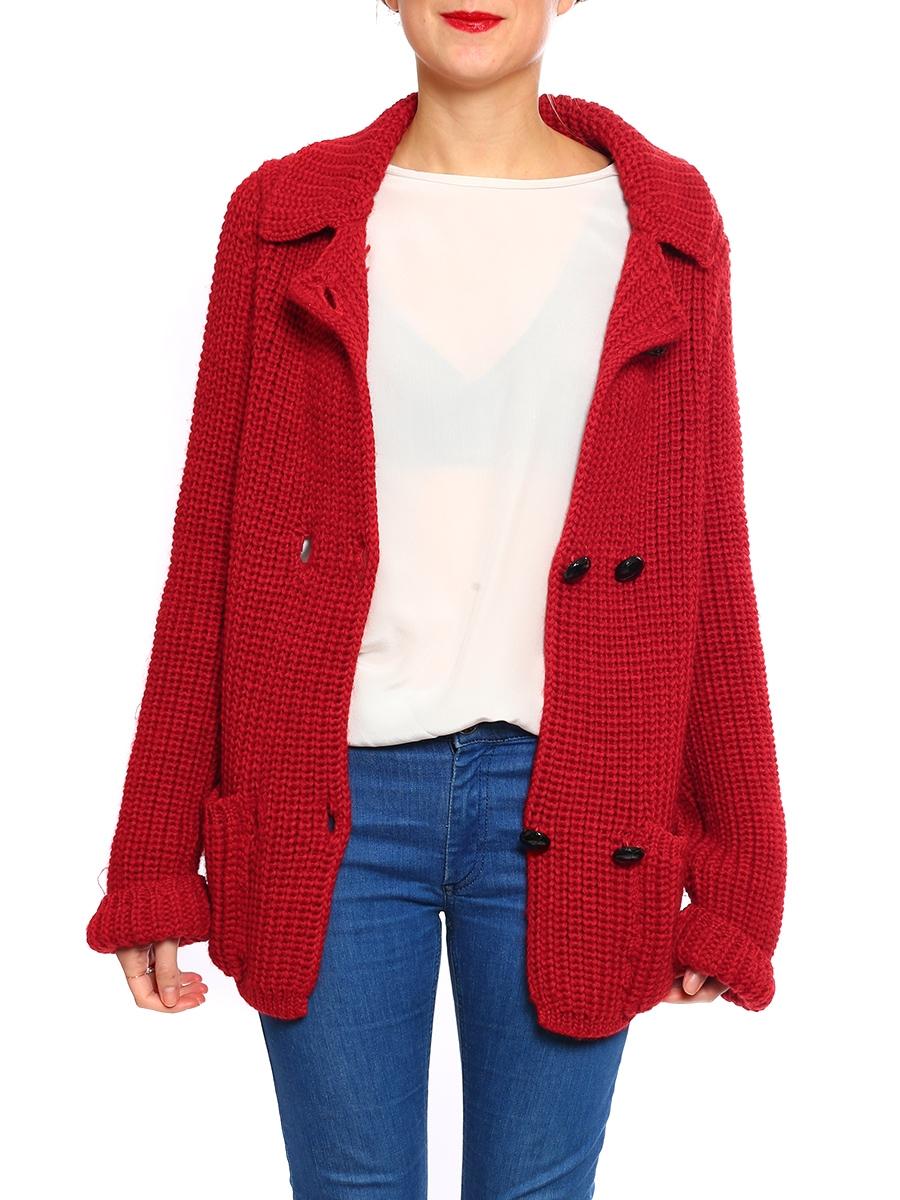 louise paris isabel marant etoile gilet en maille paisse de laine rouge prix boutique 330. Black Bedroom Furniture Sets. Home Design Ideas