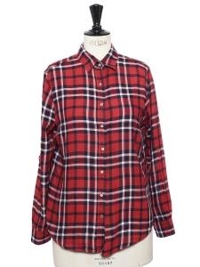 Chemise manches longues en coton doux imprimé tartan rouge Taille S