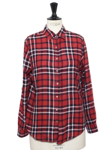 Red plaid check printed soft cotton shirt Size S
