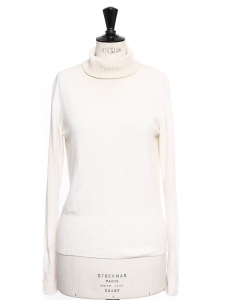 Ivory white pure cashmere turtleneck sweater Retail price €700 Size 36