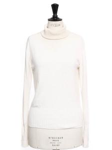 Pull col roulé en pur cachemire blanc ivoire Prix boutique 700€ Taille 36