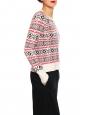 Pull de ski NEIGE blanc imprimé rouge et vert Prix boutique 185€ Taille 36