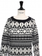 Black and white printed wool-blend sweater Retail price €180 Size XS