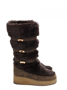 Chocolate brown leather and fur snow boots Retail price €450 Size 39
