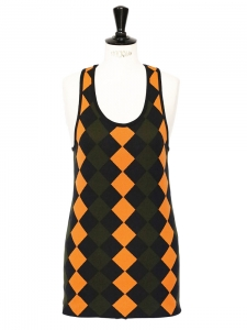 Orange, khaki green and black geometric printed knitted tank top NEW Retail price €500 Size 36/38