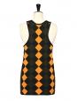 Top débardeur en maille à imprimé graphique orange, kaki et noir NEUF Prix boutique 500€ Taille 36/38
