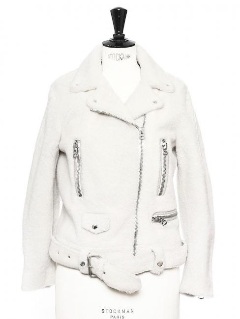 Veste biker shearling jacket MERLYN blanc ivoire NEUF Prix boutique 1900€ Taille 36/38