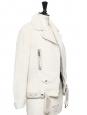 Veste biker shearling jacket MERLYN blanc ivoire Prix boutique 1900€ Taille 36/38