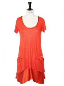 Robe en lin et soie rouge orangé corail Prix boutique 350€ Taille 36