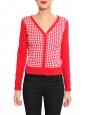 Gilet col V en coton rouge motif carreaux blanc Px boutique 150€ Taille 36