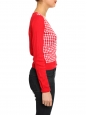 V neck bright red and white checked knit cardigan Retail price €150 Size XS/S