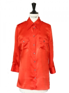 Bright red silk shirt Retail price €400 Size 36
