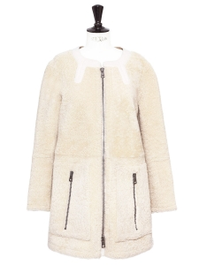 Cream white shearling coat Retail price €3500 Size S