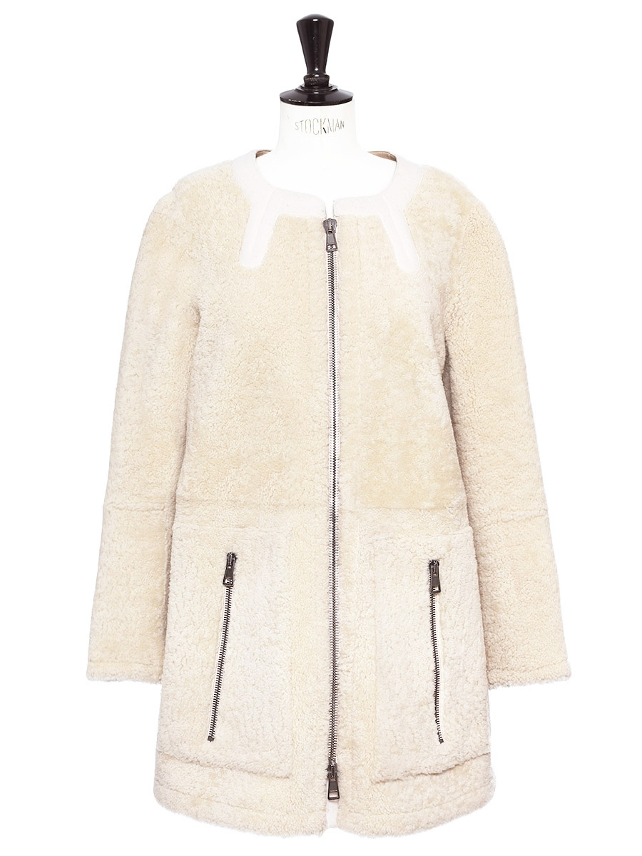 0f937d0cdd460 Manteau shearling en peau lainée crème Prix boutique 3500€ Taille S ..