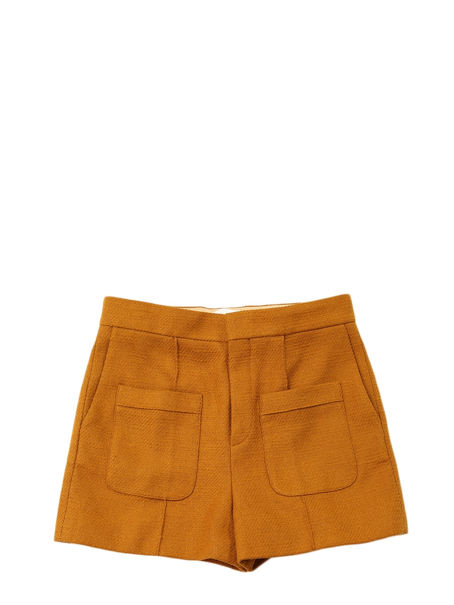 Louise Paris CHLOE Short taille haute en tweed jaune